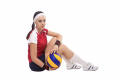 Caucasian Professional Female Volleyball Player Sitting With Bal Stock Photography