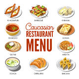 Caucasian restaurant menu with traditional dishes on plates Royalty Free Stock Image