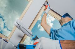 Caucasian Room Painter royalty free stock photography