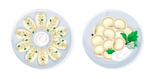 Caucasian russian kitchen traditional tasty food kurze and dumplings. Set of realistic dishes from meat and dough food, caucasian russian kitchen traditional royalty free illustration
