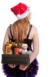 Caucasian santa with christmas presents behind Royalty Free Stock Photos