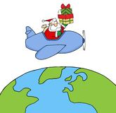 Caucasian santa flying a plane Stock Images