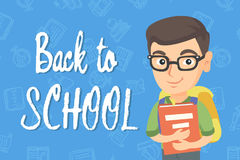 Caucasian schoolboy with backpack and textbook. Smiling happy schoolboy in glasses hugging a textbook. Vector sketch cartoon illustration with back to school Royalty Free Stock Photo