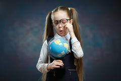 Caucasian Schoolgirl Wear Glasses Turn World Globe stock images