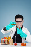 Caucasian scientist doing research. Young male scientist wearing protective gloves and goggles while doing experiment Royalty Free Stock Photo
