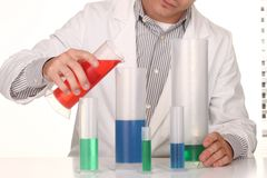 Caucasian Scientist At Work Using the Scientific Method Royalty Free Stock Photos