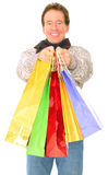 Caucasian Senior Man Carrying Shopping Bags Stock Photography