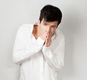 Caucasian sensual man in white shirt Royalty Free Stock Photo