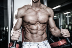 Caucasian sexig konditionmodell i idrottshallslut upp abs royaltyfri foto