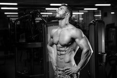Caucasian sexig konditionmodell i idrottshallslut upp abs Royaltyfri Bild