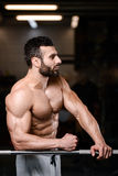Caucasian fitness male model execute exercise with barbell. Brutal bodybuilder on diet resting and working out in the gym. Caucasian fitness male model execute stock photos