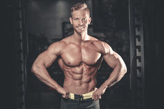 Caucasian fitness model in gym close up abs. Handsome caucasian fitness model in gym close up abs concept man on diet shirtless training six pack healthcare stock photography