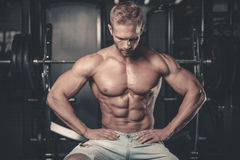 Caucasian fitness model in gym close up abs. Handsome caucasian fitness model in gym close up abs concept man on diet shirtless training six pack healthcare royalty free stock photos