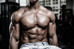 Caucasian fitness model in gym close up abs stock photos