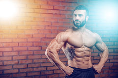 Caucasian fitness model in gym close up abs. Handsome caucasian fitness model in gym close up abs concept man on diet shirtless training six pack healthcare royalty free stock photo