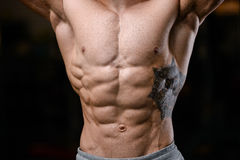 Caucasian fitness model in gym close up abs. Handsome caucasian fitness model in gym close up abs concept man on diet shirtless training six pack healthcare royalty free stock image