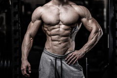 Caucasian fitness model in gym close up abs stock image