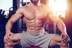 Caucasian fitness model in gym close up abs stock photography