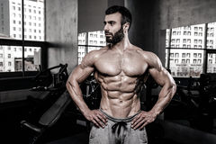 Caucasian fitness model in gym close up abs royalty free stock images