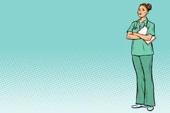 Caucasian sjuksköterska för popkonst Medicin och hälsa vektor illustrationer