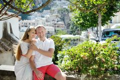 Caucasian smiling romantic couple in Positano, Italy - love concept Royalty Free Stock Photo