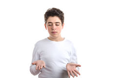 Caucasian smooth-skinned child keeping his palms up Royalty Free Stock Images