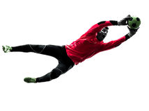 Caucasian soccer player goalkeeper man catching Stock Photography