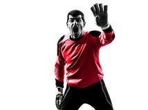 Caucasian soccer player goalkeeper man silhouette Stock Photos