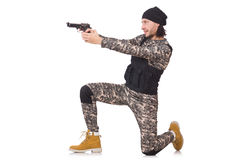 Caucasian soldier with handgun isolated on white Royalty Free Stock Images