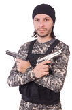 Caucasian soldier with handgun isolated on white Stock Photography