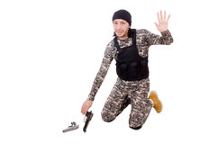 Caucasian soldier with handgun isolated on white Stock Photo