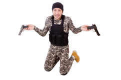 The caucasian soldier with handgun isolated on Royalty Free Stock Image