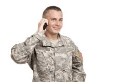 Serviceman on a cellphone Royalty Free Stock Images