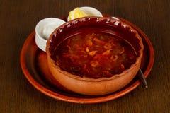 Caucasian Solyanka soup. With cream and lemon Royalty Free Stock Photo