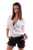 caucasian som poserar sexigt kvinnabarn Royaltyfria Foton