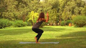 Caucasian sportswoman practicing asana at the open air. Side view slim woman doing yoga in park. caucasian girl with long curly hair trains outdoors. nature stock video