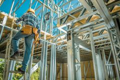 Caucasian Steel Frame Worker royalty free stock photo