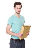 Caucasian student man hold with folder Stock Photos