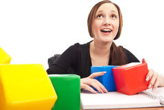 Caucasian student playing cubes Royalty Free Stock Photos