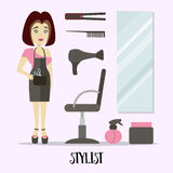 Caucasian stylist standing near armchair. Hairdresser standing at workplace in barber shop. Vector flat design illustration royalty free illustration