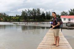 Caucasian Tattoed Man Tourist Standing Bridge Boardwalk Path Asia Tourism Photographer stock images