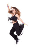 Caucasian teenage girl dancing hip hop Stock Photos