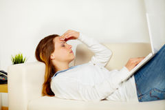 Caucasian tired woman with headache Stock Images