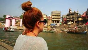 Caucasian tourist girl, indian boat, varanasi ganges river, india Stock Images