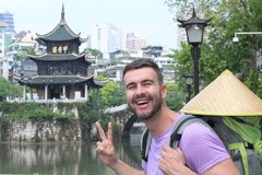 Caucasian tourist in Guyiang, China.  royalty free stock images