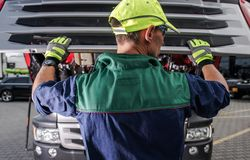 Caucasian Truck Service Worker stock photography