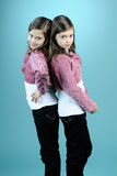 Caucasian twins posing in studio Stock Images