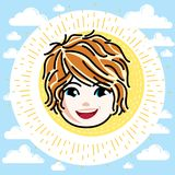 Caucasian type girl face expressing positive emotions, vector hu Royalty Free Stock Images