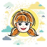 Caucasian type girl face expressing positive emotions, vector hu Stock Photo