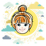 Caucasian type girl face expressing positive emotions, vector hu. Man head illustration. Beautiful redhead happy child with stylish haircut Royalty Free Stock Photos